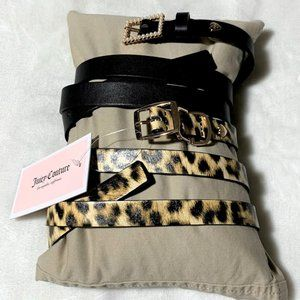 Juicy Couture 2 Pack Animal Print and Black Belts